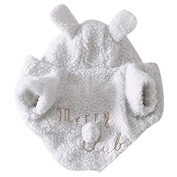 Etosell Animaux Chiot Mignon Hiver Blanc Mouton Capuche Manteau 5 taille (X-Large)