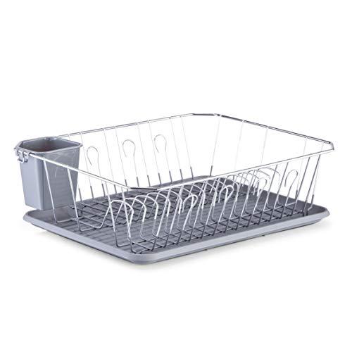 Zeller 27268 Geschirrabtropfständer, Kunststoff/Metall verchromt, 45.5 x 35 x 13.5 cm, grau