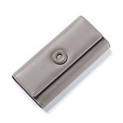 Brieftaschen Kartenhalter Münzfach Weibliche Geld Geldbörse Mode Haspe Cluth Brieftaschen Damen Tasche Gray ()