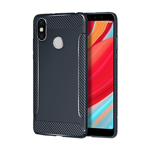 Carols Redmi S2 Hülle, Xiaomi Redmi S2 Case Flexiblem TPU Silikon Hybrid Schutzhülle Kohlenstoff-Fasern Tasche Ultra Slim Handyhülle für Xiaomi Redmi S2 - Blau A
