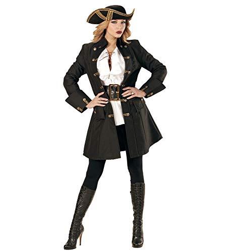 Schwarzer DAMEN-Mantel mit goldenen Knöpfen für Piratin