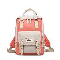 LOUYT Junior High School Student Canvas Backpack Multi-Color Teenager Ladies Travel Rucksack Fashion Girls Bookbag Mochila Feminina Orange Beige