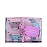 "Bombay Duck"" Miss Woodhouse Butterfly Mini Teacups and Saucers, Bone China, Multi-Colour, 7 x 7 x 5 cm"