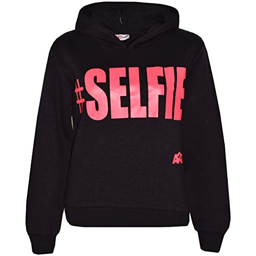 A2Z 4 Kids® Kinder Mädchen Jungen Sweatshirt Tops Schwarz & Neon Rosa Designer - #Selfie Hoodie Black Neon Pink_11-12
