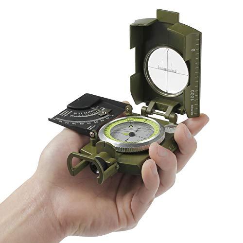 PIANAI PA® Kompass, Wasserdicht Metall Professioneller Taschenkompass Peilkompass Kompass Fluoreszendem Leuchtzifferblatt für Reisen Wandern Camping Jagd