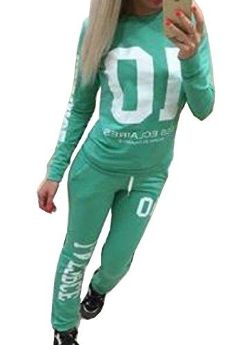 JONLILEI Donna Autunno Maglie a manica lunga Pantaloni Tute da ginnastica Abbigliamento Sportivo Tuta Jogging Felpa Verde