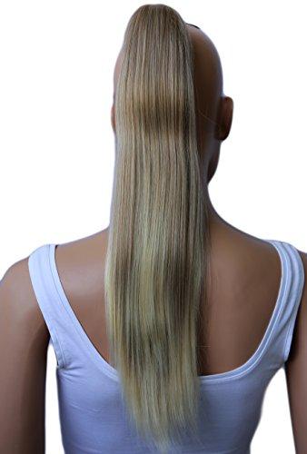 PRETTYSHOP 50cm Haarteil Zopf Pferdeschwanz glatt Haarverlängerung hitzebeständig wie Echthaar mix Blond # 27T613 H60