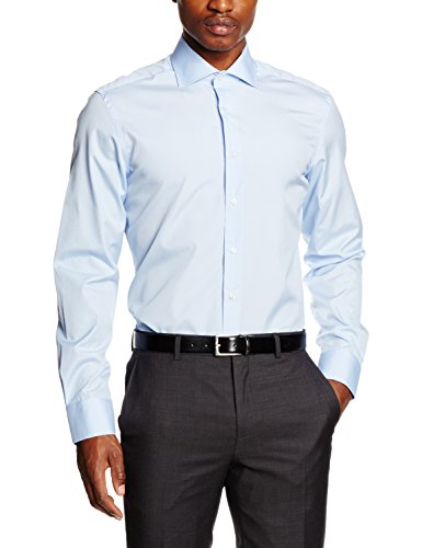 Hackett Clothing Poplin Single Cuff, Camicia formale Uomo, Blu (Sky), 15.5(UK)