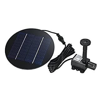 Decdeal Solar Pond Pump 9V 1.5W Solar Water Pump Solar Powered Fountain Kit Submersible Brushless for Bird Bath Pond Pull Garden