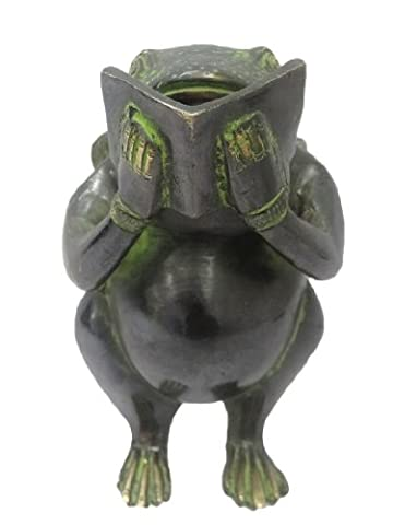 Frog Design Laiton Métal Figurine Noir Sculpture main Craved Décorative Art