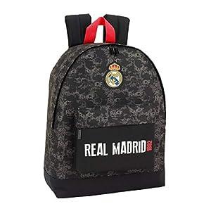 Real Madrid CF Mochila Grande con Funda Ordenador, Negro, 43 cm