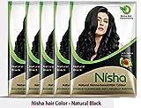 Natural Color Haarfarbe Henna Powder (natur schwarz) 25g, 10Stück von Nisha