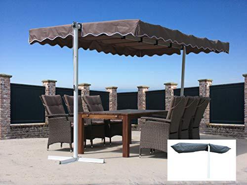 Quick-Star Ziehharmonika-Markise Dubai Taupe mit Schutzhülle Grau