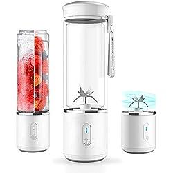 SOFIT Mini Blender Smoothie, Rechargeable avec USB Verre Fruit Juicer, Portable Mixeur des Fruits pour Home Voyages travaillent à l'extérieurage, et 6 Lames en Acier Inoxydable sans BPA- 500ml (Blanc)