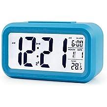 eiala 5.4light-sensor Smart sencillo y silencioso LED Reloj despertador w/Fecha Pantalla de Temperatura Repeating Snooze y sensor de luz + luz de noche progresivos Louder Wakey Alarma