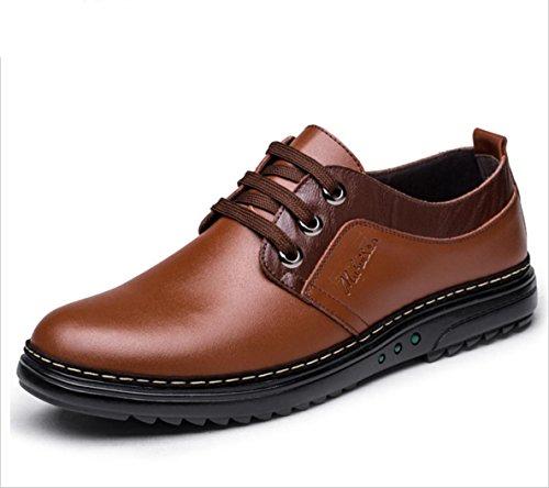 WZG affaires chaussures de sport Les nouveaux hommes version coréenne de chaussures pour hommes britannique, chaussures en cuir plates 9 Brown