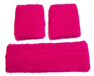 Neon Pink Retro 80's Head & Wrist Sweatband Set: Amazon.co