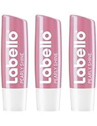 Labello Pearly Shine Lippenpflegestift mit Farbe gegen trockene Lippen, 3er Pack (3 x 4,8 g)