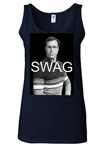 Swag Will Ferrell Funny Comedy Dope Cool White Women Vest Tank Top Bleu Foncé