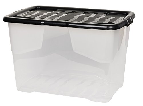 """Aufbewahrungsbox""""Curve"""" mit Deckel aus transparentem Kunststoff. Nutzvolumen von ca. 65 Liter. Stapelbar und nestbar. Maße BxTxH in cm: 61 x 40 x 39 cm"""