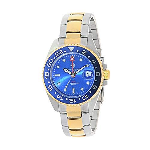 Constantin Durmont Unisex Erwachsene Analog Quarz Uhr mit Vergoldet Armband Cavity GMT 130323