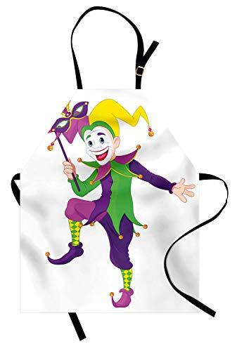 ABAKUHAUS Mardi Gras Kochschürze, Cartoon Style Jester in ikonischen Kostüm mit Maske Happy Dancing Party Figur, Farbfest Höhenverstellbar Waschbar Klarer Digitaldruck, Mehrfarbig