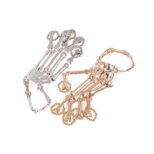 Skelett Kostüm Punk Rock - MOTZU 2 Pack Punk Finger Armbänder, Gold/Silber Halloween Armband,Rock Gothic Skelett Knochen Hand Kralle Klaue Schädel Armband Ring,Greifer-Schädel-Armband, Metallhandskelett Party Schmuck