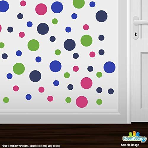 DecalVenue.com Set von 60Kreise Polka Dots Vinyl Wandaufkleber (Blau/Hot Pink/Marineblau Blau/Lime Grün)