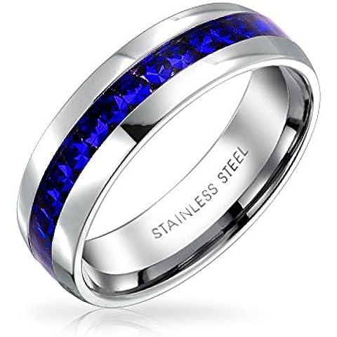 Bling Jewelry Simulato Sapphire Crystal Settembre Amuleto Eternity Anello Acciaio