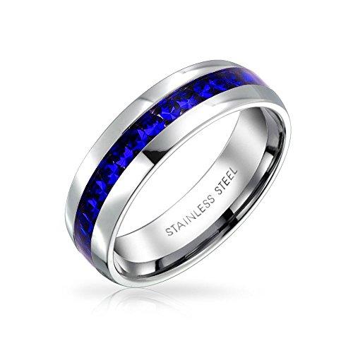 Bling Jewelry September Monat Farbe Dunkelblau Kanal EIN Kristall Der Ewigkeit Band Ring Für Damen Silber Getönt Aus Rostfreiem Stahl
