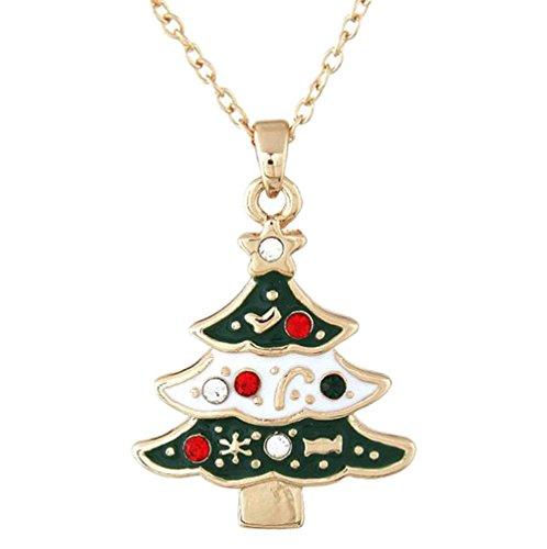Hosaire 1x Halskette Mode Weihnachtsbaum Anhänger Necklace Damen Clavicle Kette Schmuck Zubehör Weihnachts Legierung Halsketten Ketten
