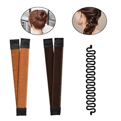 Romote - 2 moldes para hacer moños de pelo (marrón/rubio) + 1 herramienta de trenzado de pelo francés para manualidades (negro)