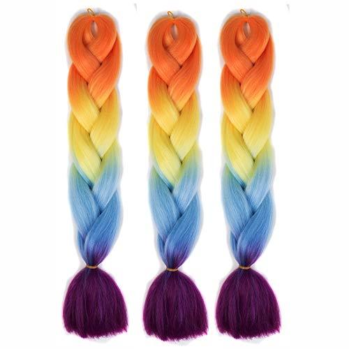 Perücken für Frauen Mädchen, Farbverlauf Chemische Faser Header Party Cosplay Halloween Perücken Braid Haar, 3 Stücke (29)
