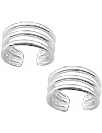 Silvernshine Women's 14K White Gold Fn .925 Sterling Silver Triple Band Adjustable Toe Ring Set