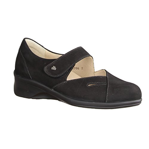 Finn Comfort Womens Aquila 3594 Nubuck Shoes Black - Black