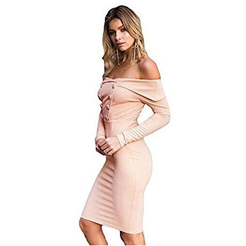 NTNT Damen CocktailKleid PartyKleid Prinzessin Hochzeit Kleid Falsch zweireihiger weg vom Schulter Midi Bodycon Kleid Aprikose