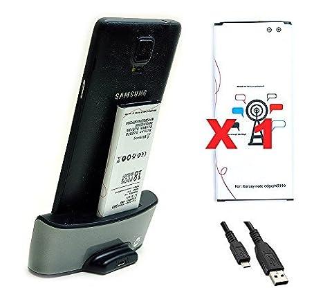 Mondpalast ® 1 x Akku Batterie 3000mah + Dockingstation Ladegeräte Ladestation für Samsung Galaxy Note Edge N9150