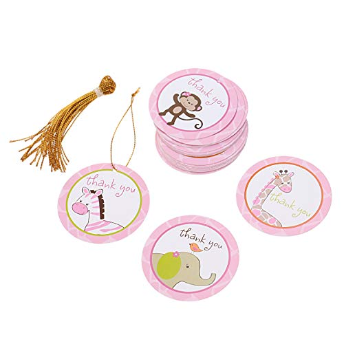 n Animal Printed Thank You Tags for Baby Shower Birthday Wedding Thanksgiving Party Favors with String (Pink) ()
