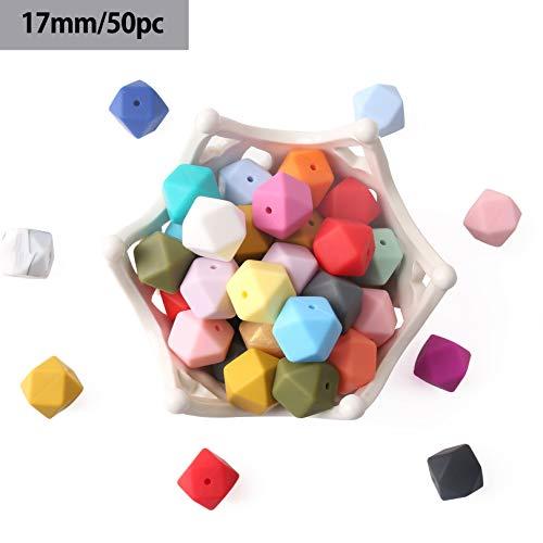 baby tete Perles en silicone 17mm / 50Pcs Forme géométrique/hexagonale en silicone Teinture Bricolage Artisanat Collier en soins infirmiers Grenouille