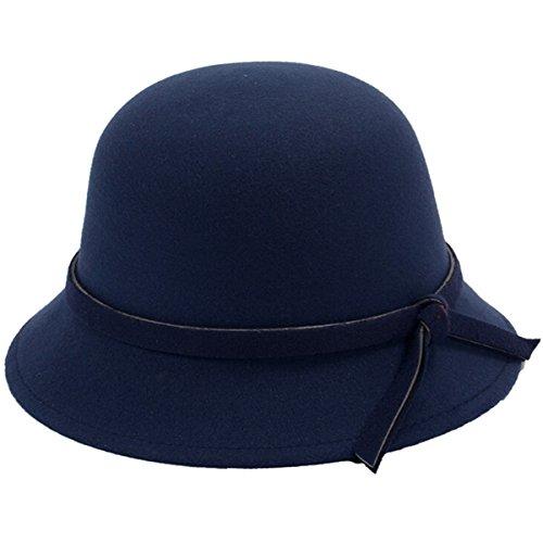 Butterme Frauen Dame Vintage Wool Round Fedora Bogen Cloche Derby Hüte Eimer Hüte (Navy blau) Frauen Blauen Eimer Hüte