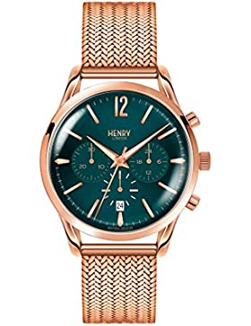 Henry London Unisex-Armbanduhr Stratford Chronograph Quarz Edelstahl HL39-CM-0142