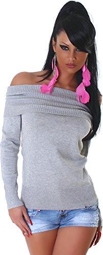 Jela London Damen Strick-Pulli Pullover weiter Rollkragen Grau