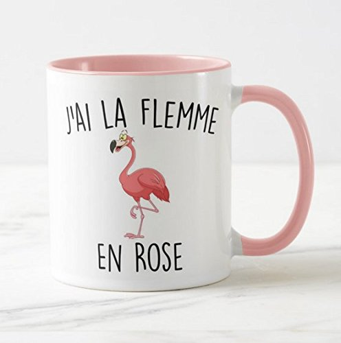 Mug rose Flament Rose j'ai la flemme en rose
