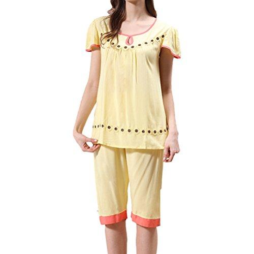 Zhhlinyuan Summer Womens Short sleeves Classic Round Neck Sleepwear Set M5234 yellow