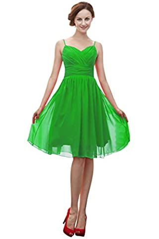 Vimans® Girl's Short Bright Green Chiffon Pleated Prom Gowns for Summer