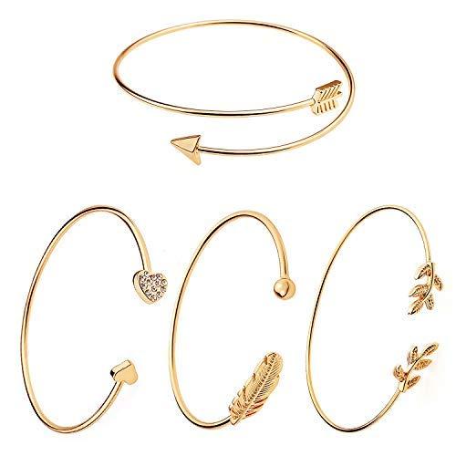 llbare Manschette Armband offenen Draht Armreif stapelbar Wrap Armband Set für Frauen Mädchen Gold ()
