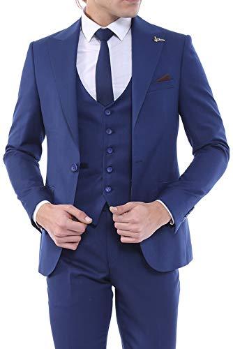 764d09863ef97 Sivri Yaka Yelekli Lacivert Takım Elbise | Wessi 56 Fiyatları ...
