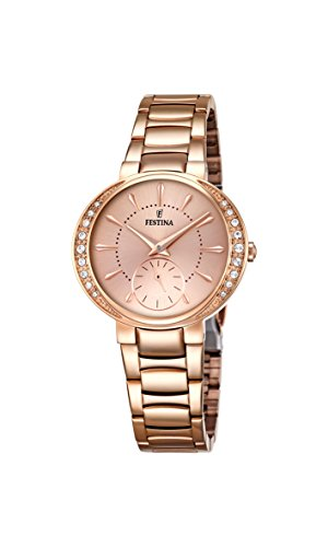 Festina MADEMOISELLE Women's Quartz Watch with Rose Gold Dial Analogue Display and Rose Gold Stainless Steel Rose Gold Plated Bracelet F16911/2