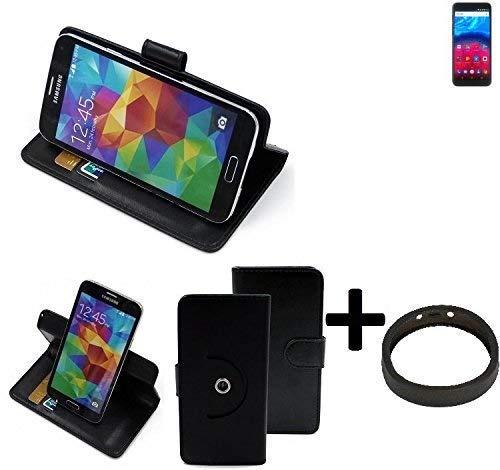 K-S-Trade® Hülle Schutzhülle Case Für -Archos Core 60S- + Bumper Handyhülle Flipcase Smartphone Cover Handy Schutz Tasche Walletcase Schwarz (1x)