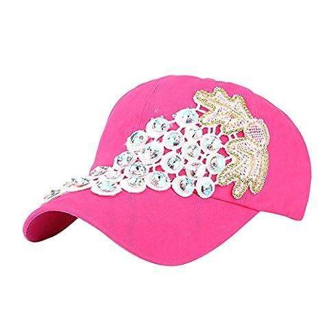 Baseball Cap,Yukong Women Snapback Hip Hop Flat Hat Peak Cap (Hot Pink)